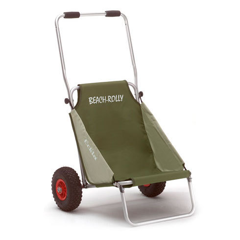 Carro de transporte y silla plegable beach rolly de color oliva - Carro para playa transportar sillas ...